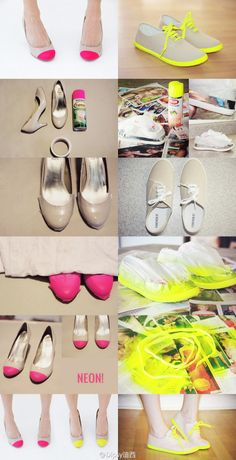 Great way to transform dirty old shoes to fashionable NEON pumps and sneakers!!