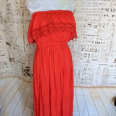 7126eb87730 Steve Lindsay Maxi Summer Dress Womens Size XL Empire Waist Coral Rayon  Slvless  SteveLindsay