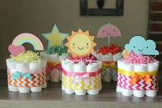 SET OF 5 Mini Girls Weather Diaper Cakes Weather Baby Shower Rainbow Sun Sunshine Clouds Raindrops Umbrella Centerpieces Decor Cloud Baby Shower Theme, Raindrop Baby Shower, Umbrella Baby Shower, Baby Shower Niño, Shower Bebe, Baby Shower Favors, Baby Shower Cakes, Baby Shower Themes, Baby Shower Gifts