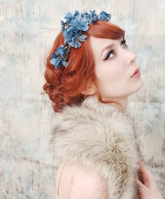 Woodland headpiece, navy blue flower crown, floral tiara, wedding hair accessory - Muse via Etsy.