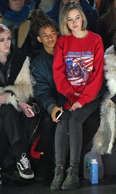 Jaden Smith and Sarah Snyder at Hood By Air on Sunday
