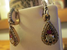Vintage Art Deco 1.60ctw Ruby and White Sapphire 14KT Gold/925 Sterling Silver Dangle Earrings, 4.2 grams by TamisVintageShop on Etsy