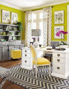 Office Space Inspiration | Gray & Yellow | Textures & Patterns | Busy | In a Good Way!