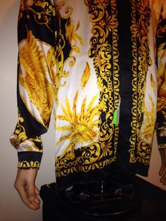 Vintage 1990s BAROQUE GOLD FILIGREE Golden Bird Silk print