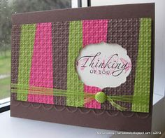 Great way to use scraps of paper. Stamps: Sincere Salutations, Kindness Matters Ink: Chocolate Chip, Melon Mambo classic ink Paper: Chocolate Chip, Melon Mambo, Lucky Limeade, Very Vanilla cardstock Extras:Framelits Labels Collection; Square Lattice embossing folder; Lucky Limeade organza ribbon; Designer Brads In Color; Adorning Accents embossing folder.