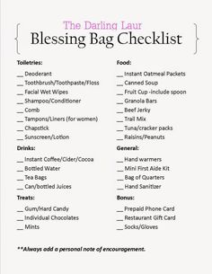 Blessing bags are plastic bags filled with items to hand out to the homeless.  This is a great checklist to base your items off of.   http://thedarlinglaur.blogspot.com/2014/11/give-blessing-bags.html - handbag designers, latest designer handbags, womens purse brands *sponsored https://www.pinterest.com/purses_handbags/ https://www.pinterest.com/explore/handbag/ https://www.pinterest.com/purses_handbags/clutch-purse/ http://www.dillards.com/c/handbags