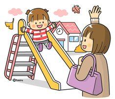 保育園のお迎えをするお母さんのイラスト(カラー)