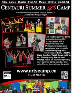"""Centauri Summer Arts Camp is brilliant.  As a teenager, it changed my life.  Now I'm lucky enough to get to share my love of the arts with young people.      """"Pin"""" this poster and let other children discover their love of the arts."""