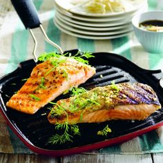 Salmon Fillets with Eastern Salad - Le Creuset Recipes Le Creuset, Salmon Fillets, Grill Pan, Seafood, Grilling, Turkey, Sweet, Dressing, Plum Sauce