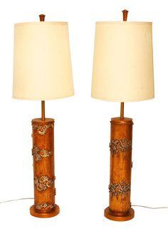 MCM Wallpaper Roller Lamps by ErinLaneEstate on Etsy Wallpaper Roller, Gold Background, Midcentury Modern, Solid Wood, Repurposed, Print Design, Table Lamp, Diy Crafts, Lighting