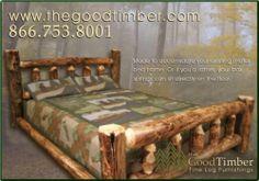 NEW Queen Aspen Cabin Log Bed, Rustic Furniture Beds