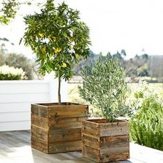 DIY planters made out of old pallets, definitely making these for my front porch topiaries