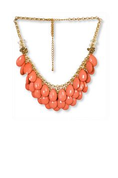 TEARDROP NECKLACE IN CORAL Francesca's | Womens Clothing Stores & Online Boutique