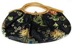 Chinese Silk Brocade Longevity Blossom Purse