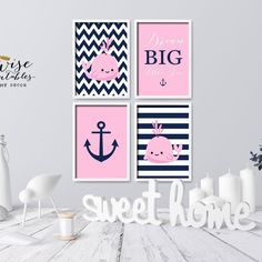 ★ DREAM BIG LITTLE ONE ★ is a cute addition to your kidsroom, nursery or playroom and a great gift for a baby shower for a cute little girl! 4 posters make a gorgeous and unique accent for the baby room and a lovely gift for a coming home newborn!