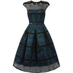 'Harlow' Teal Black Swing Dress ($84) ❤ liked on Polyvore featuring dresses, blue, blue dress, lace swing dress, lace dress, blue swing dress and blue midi dress