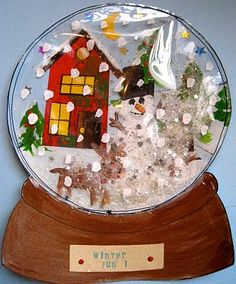 Pamela Holderman: snow globes anyone? - Snowglobe tutorial, better than the baggie one I think. Christmas Art Projects, Christmas Activities, Winter Activities, Projects For Kids, Holiday Crafts, Classroom Activities, Holiday Ideas, Christmas Ideas, Winter Art