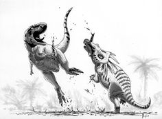 Gladiators of Alberta | Styracosaurus albertensis inflicts a mortal blow to Albertosaurus sarcophagus | Art by Alain Bénéteau