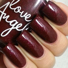 "I have swatches from this months @pipedownthisloveisbliss box. This month will include @fancygloss as the guest indie maker. First up is ""Venomous kisses"" by @loveangelinepolish this is a vaampy burgundy with tons of shimmer and subtle holo throughout. 2 coats plus topcoat. Available for purchase on Nov 10th."