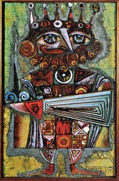 Kay Whitcomb, enamel on copper panel, Le Roi I, 1965