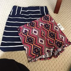 Bundle! Stretch skirt and shorts never worn White and navy stretch skirt NWOT xs (true to size)  stretch multi color shorts NWT !  M ( stretchy and tight fits like xs) Perfect for spring and summer! Other