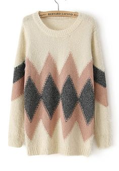 Beige Geometric Round Neck Loose Wool Blend Sweater - All of their sweaters are do dang adorable!
