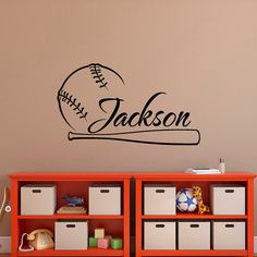 Baseball Wall Decal Name Personalized Boy Decals Art Nursery Boys Teens Room 056