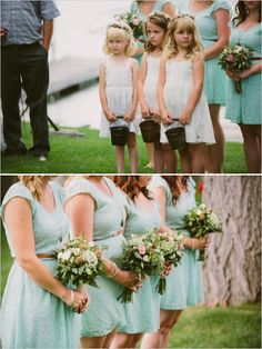 I like the short white dresses for the flower girls and the flowers in their hair