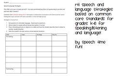 Speech Time Fun: Speech/Language RTI Strategies for Common Core Standards