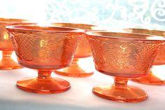 Vintage Orange Marigold Carnival Daisy Design Glass Dessert Dishes set of 8, Orange gold Iridescent Carnival Glass Footed Dessert Dishes,