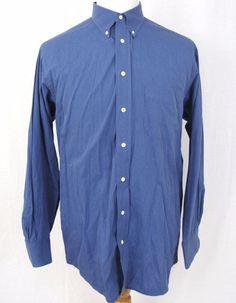 Burberry Dress Shirt 16 Large Blue Imported Cotton Vintage Plaid Button Collar #Burberry