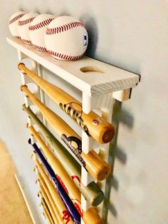 10 Mini Souvenir Bat Horizontal Baseball Display Rack With Ball Shelf Shown In White