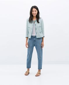 CONTRAST EMBROIDERED JACQUARD JACKET - Outerwear - WOMAN   ZARA Philippines