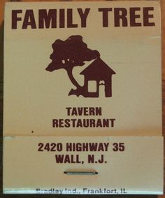 Family Tree - Tavern & Restaurant #matchbook To order your business' own branded #matchbooks call TheMatchGroup @ 800.605.7331 or go to www.GetMatches.com today!