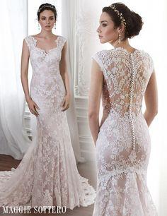 Londyn, a pale pink lace wedding dress