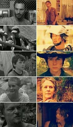 The Walking Dead... Rick Grimes, Glenn, Carl Grimes, Carol, and Daryl Dixon season 1 and season 4