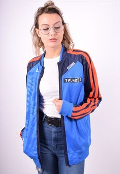 ADIDAS WOMENS VINTAGE NBA TRACKSUIT TOP JACKET SIZE 14 90'S