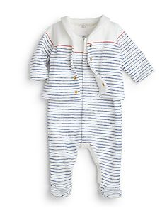 Petit Bateau - Infant's Two-Piece Striped Footie & Jacket Set - Saks.com
