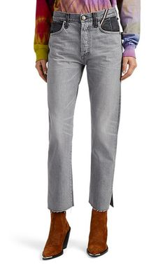 SELX Men Frayed Stretch Colorblock Washed Bodycon Multi Pocket Jeans Pants