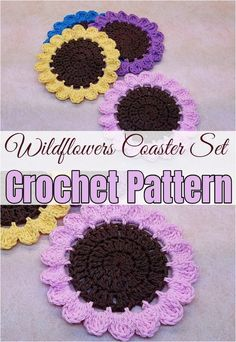 Free crochet coaster patterns,Crochet Wildflowers Coaster Set Pattern Knitting TechniquesKnitting For KidsCrochet BlanketCrochet Amigurumi Crochet Hot Pads, Crochet Mat, Crochet Fruit, Crochet Sunflower, Crochet Cactus, Crochet Home, Crochet Gifts, Crochet Doilies, Free Crochet