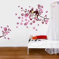 Sleeping Monkey on Pink Flower Tree Wall Sticker for children bedroom baby nursery DecoBay http://www.amazon.co.uk/dp/B007HR9VY0/ref=cm_sw_r_pi_dp_RFJwvb0D4PJ4J