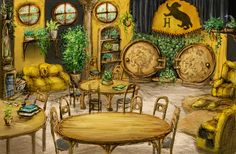 Day 29: What house are you in? - Hufflepuff (Hufflepuff Common Room by GnomeSchool.deviantart.com on @deviantART)