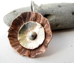 Handforged mixed metal flower necklace of silver, brass and copper   Metal_Artistry - Jewelry on ArtFire