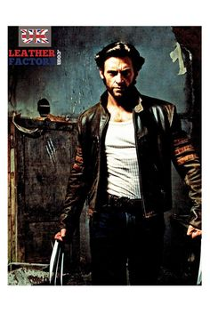 Film Celebrity X-Men Origins Wolverine Logan Hugh Jackman leather jacket for men on SALE from UK. Fine stitching. ALL SIZES. Affordable Ships FAST