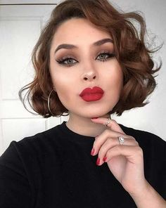 Curly, Short Brunette Bob Hairstyle