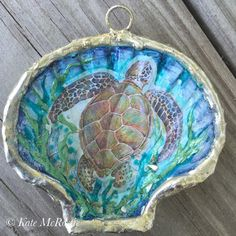 Seaturtle ornament  shell ornament  by KateMcRostieHandmade