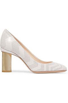 Nicholas Kirkwood--Gold heel measures approximately 85mm/ 3.5 inches Off-white leather Slip on Made in Italy