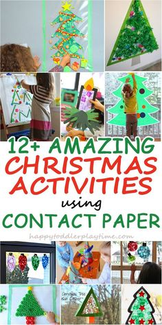 Amazing and easy Christmas activities using contact paper. From Christmas sticky walls to other creative Christmas activities using contact paper. Christmas Activities For Toddlers, Christmas Crafts For Kids To Make, Preschool Christmas, Toddler Christmas, Christmas Projects, Craft Activities, Kids Christmas, Toddler Activities, Holiday Crafts