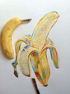 "noelbadgespugh: "" banana study "" <<< that's amazing art Kunst Inspo, Art Inspo, Art Sketches, Art Drawings, Banana Art, Posca Art, Creation Art, Arte Sketchbook, Guache"