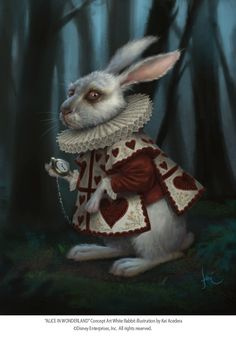 """I'm the White Rabbit,"" tugging long hair up at the sides of my head like rabbit ears, ""but actually, I'm Alice."""
